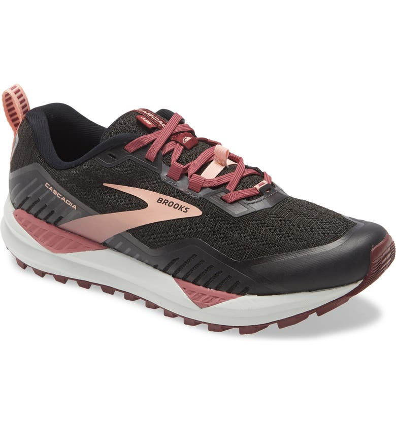 BROOKS Cascadia 15 Trail Running Shoe, Main, color, BLACK/ EBONY/ CORAL CLOUD