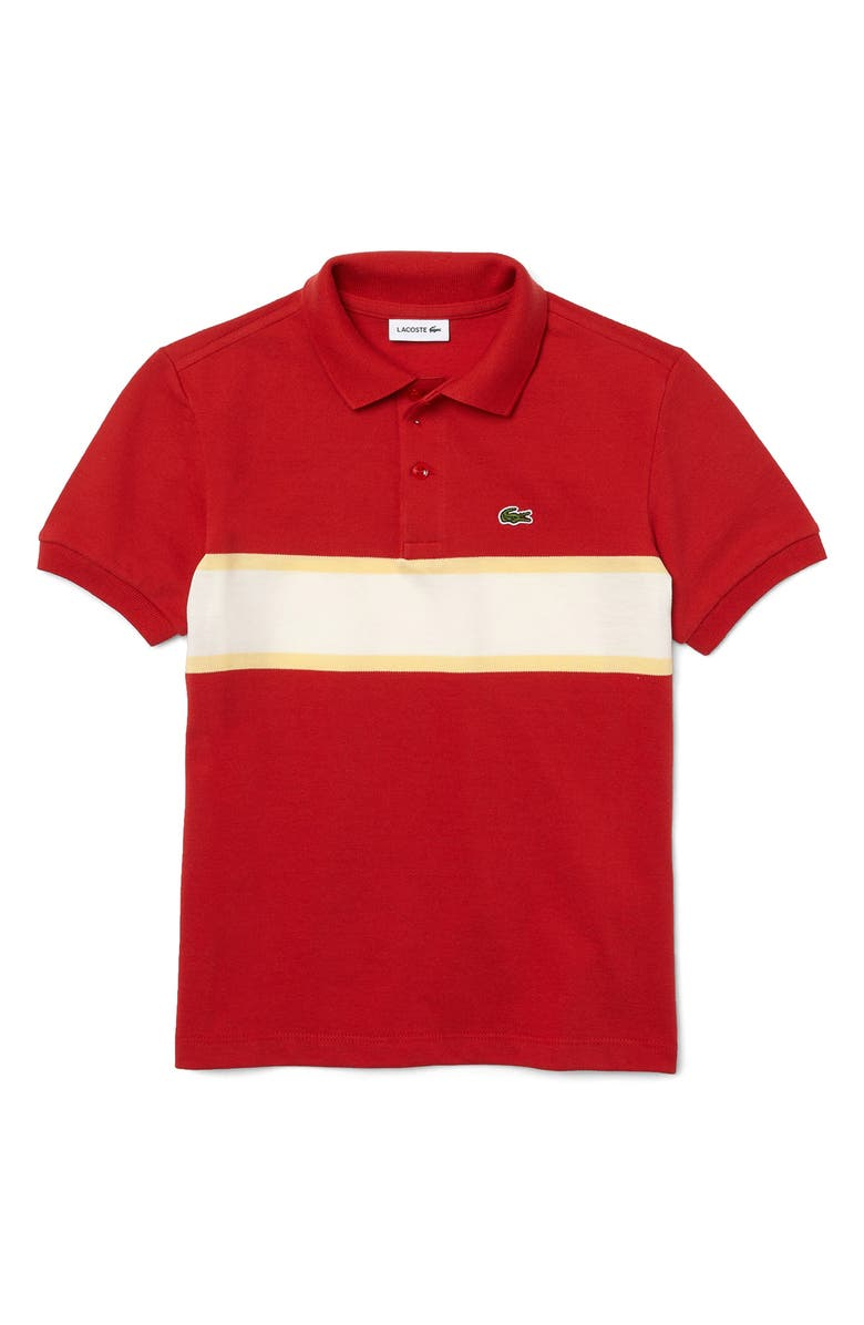 LACOSTE Kids' Colorblock Stripe Piqué Polo, Main, color, CINNABAR/ZABAGLIONE-FLOUR