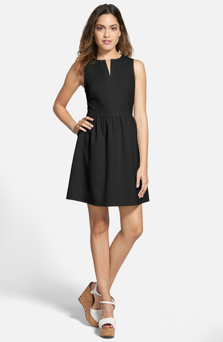 EVERLY 'Rowan' V-Neck Skater Dress, Main, color, 001