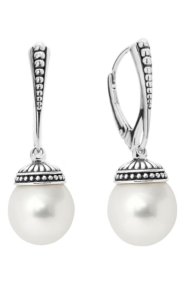 LAGOS 'Luna' Pearl Drop Earrings, Main, color, SILVER/ PEARL