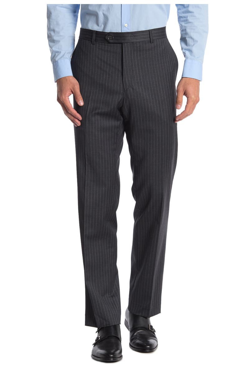 TOMMY HILFIGER Slim Fit Pinstripe Wool Blend Suit Seperate Pants, Main, color, GREY/WHITE