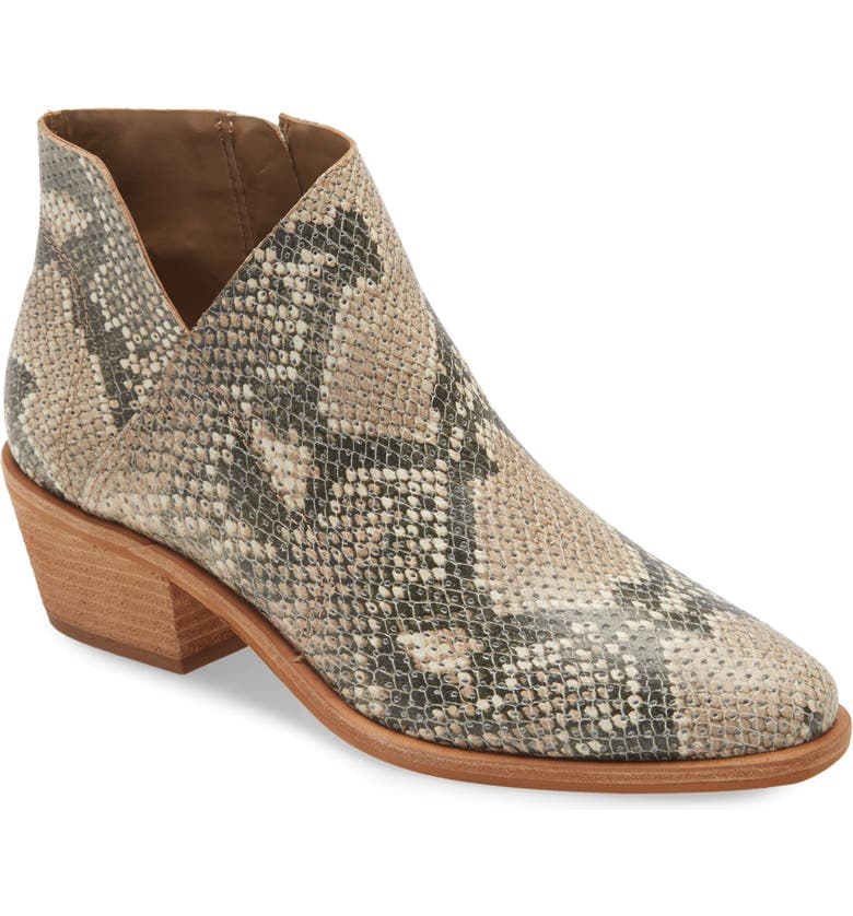 VINCE CAMUTO Arendara Bootie, Main, color, NATURAL SNAKE PRINT LEATHER