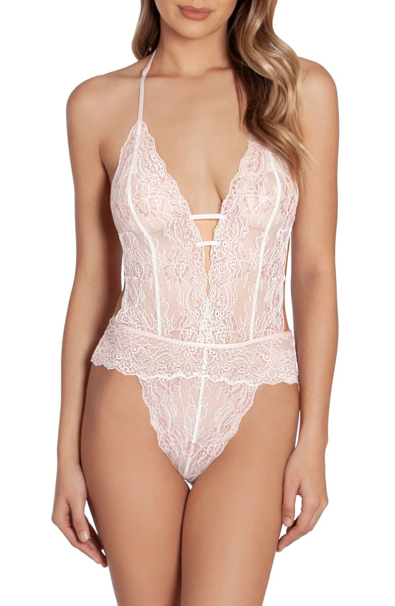 IN BLOOM BY JONQUIL Lace Thong Teddy, Main, color, OFF-WHITE/ PINK