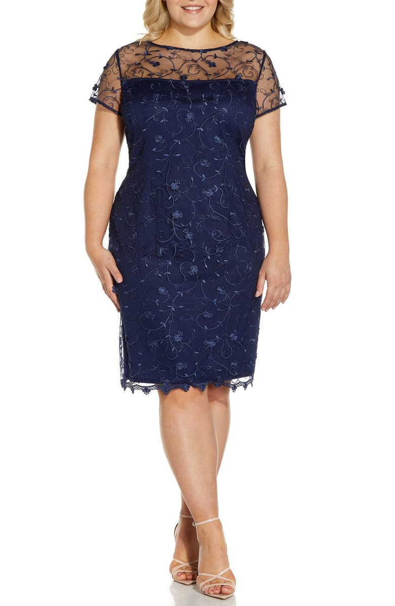 ADRIANNA PAPELL Embroidered Lace Sheath Dress, Main, color, LIGHT NAVY