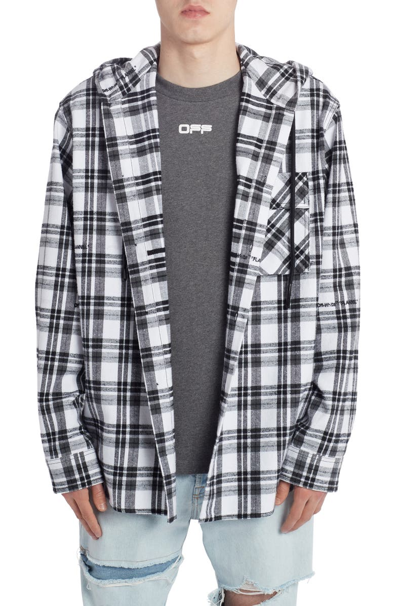 OFF-WHITE Check Flannel Hooded Button-Up Shirt, Main, color, 100