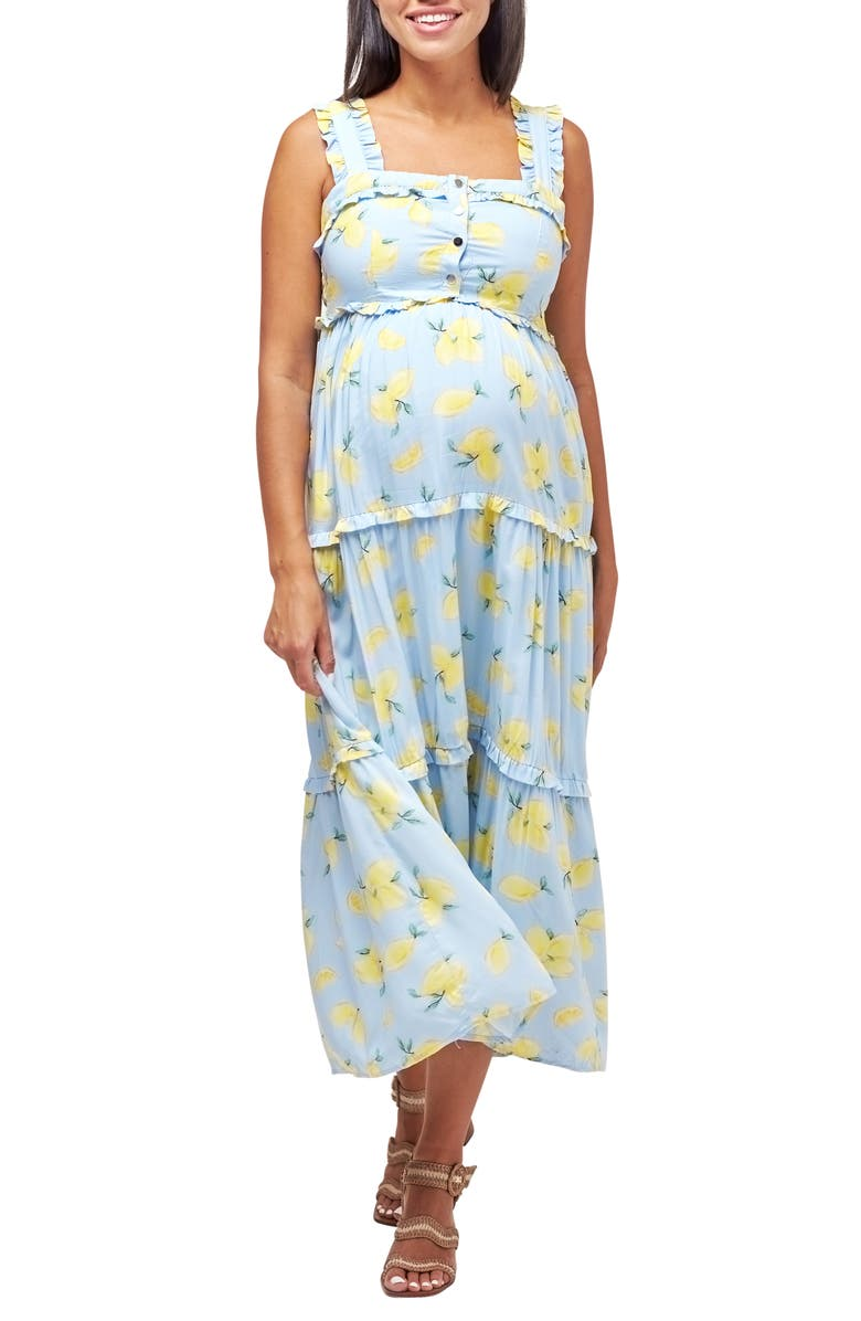 NOM MATERNITY Emma Maternity/Nursing Midi Sundress, Main, color, LEMON PRINT