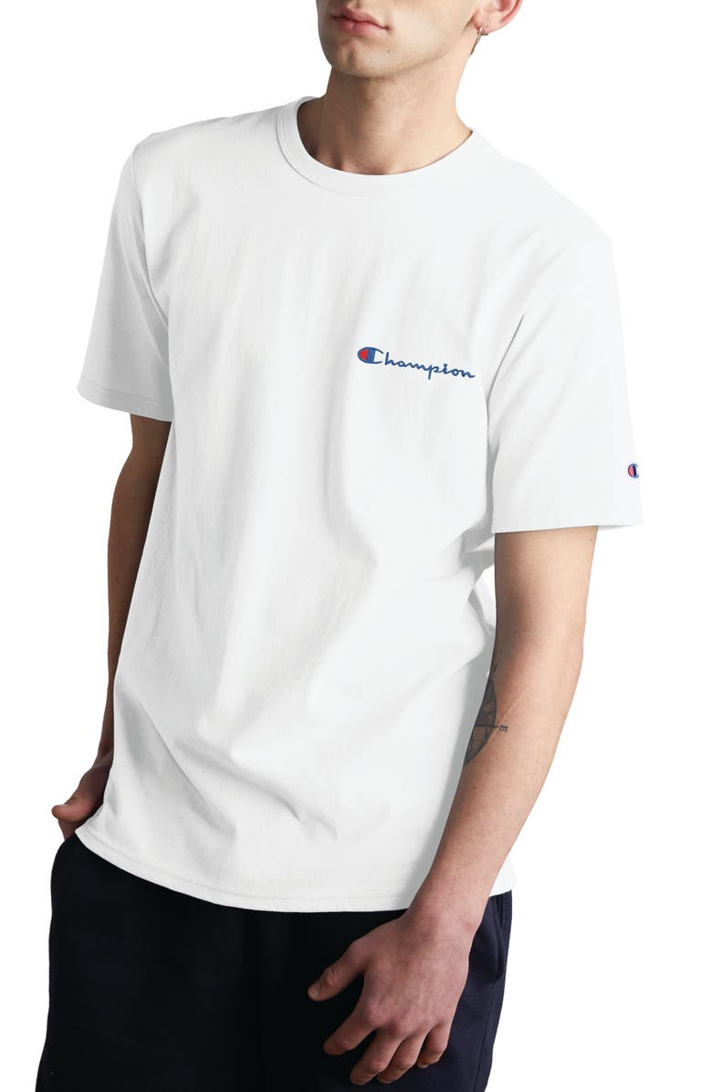 CHAMPION Logo Embroidered Crewneck T-Shirt, Main, color, White