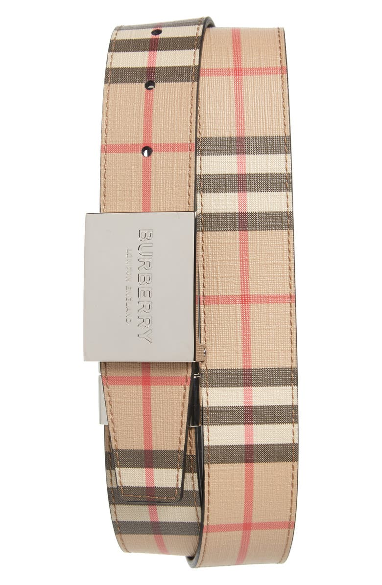 BURBERRY Plaque Buckle Reversible Vintage Check E-Canvas Belt, Main, color, 250