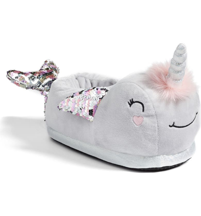 TOPSHOP Narwhal Slippers, Main, color, 020