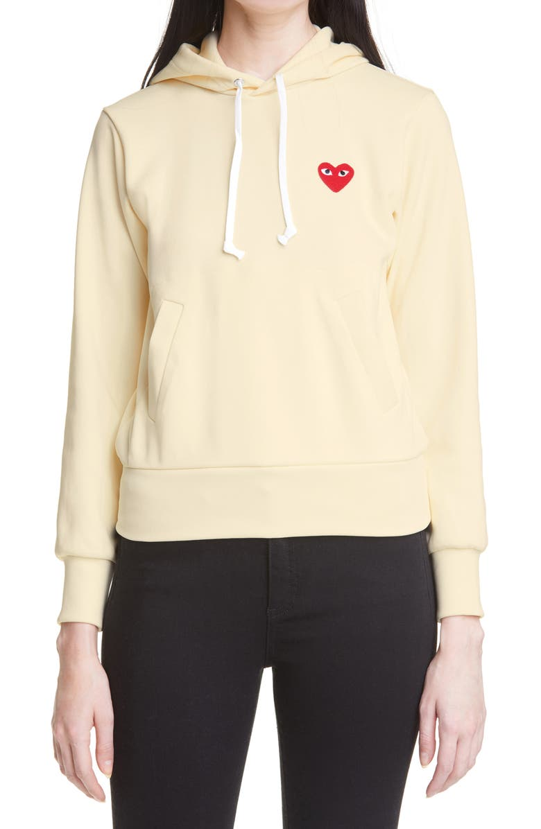 COMME DES GARÇONS PLAY Heart Graphic Hoodie, Main, color, IVORY