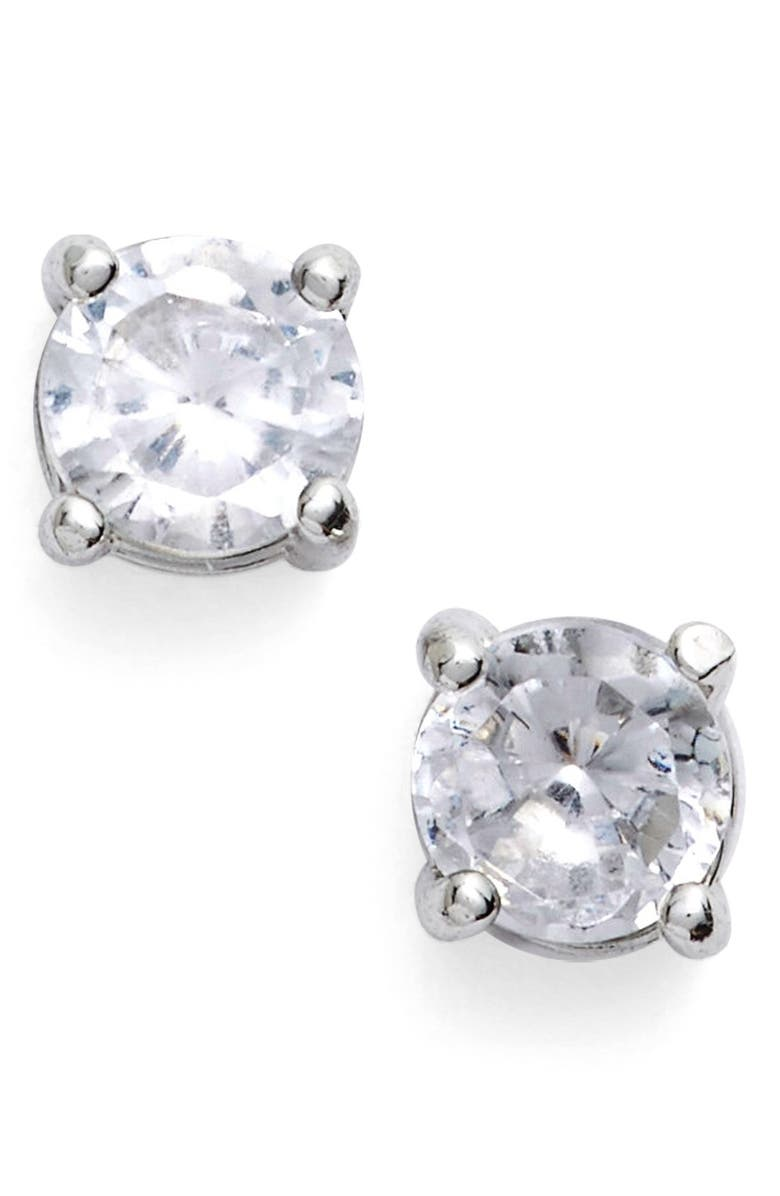 GIVENCHY Crystal Stud Earrings, Main, color, Silver
