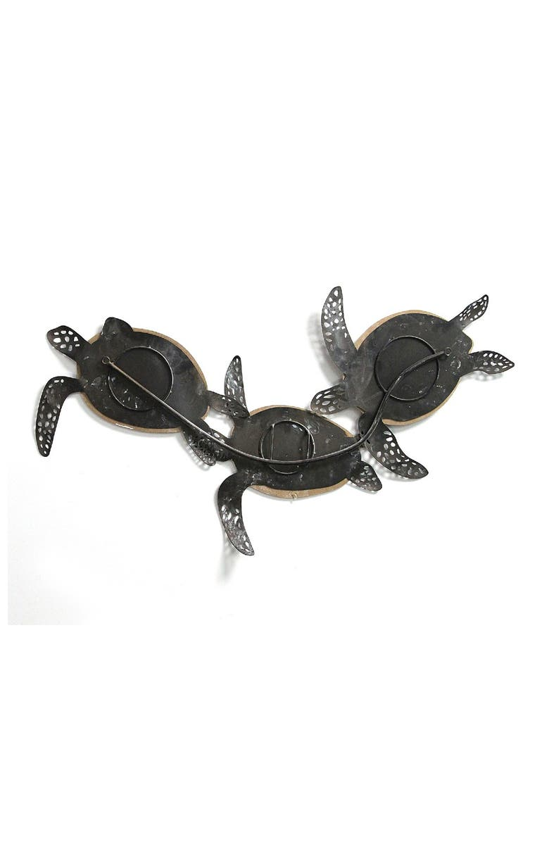STRATTON HOME DECOR Blue/White Metal & Wood Carved Turtle Wall Decor, Main, color, BLUE, WHITE