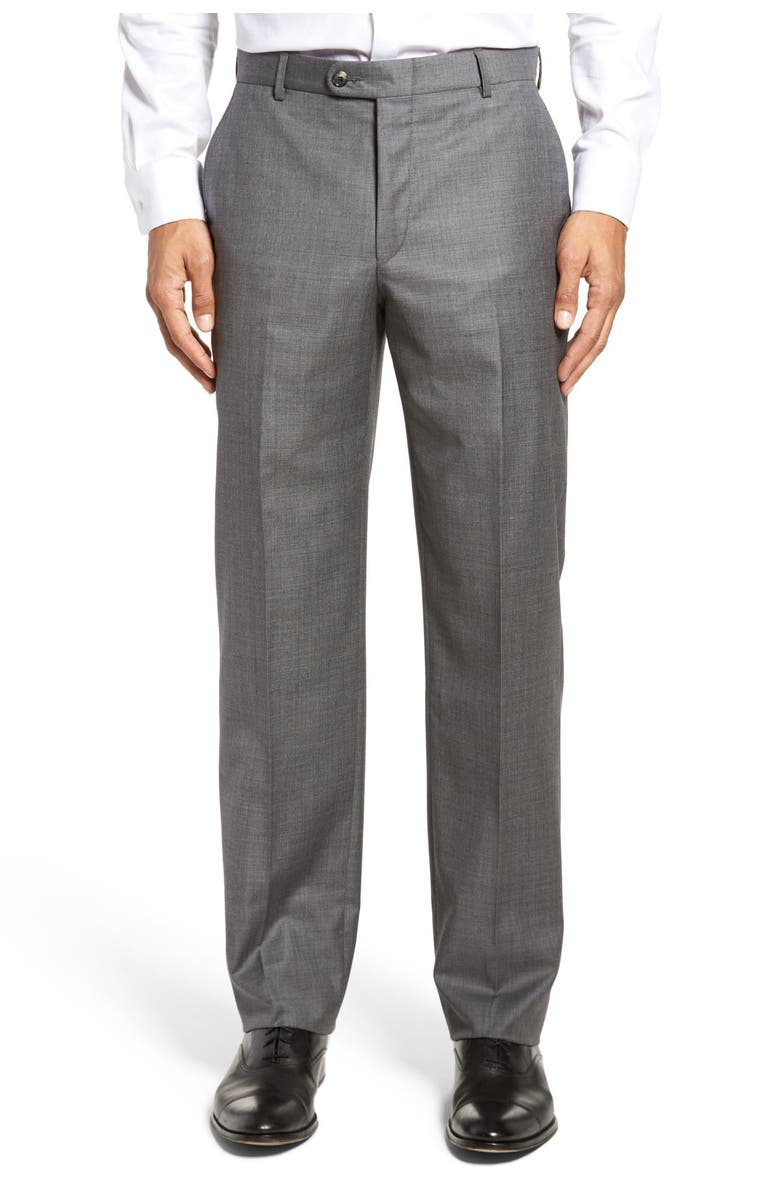 HICKEY FREEMAN Tasmanian Grey Sharkskin Flat Front Wool Suit Separates Trousers, Main, color, MED. GREY