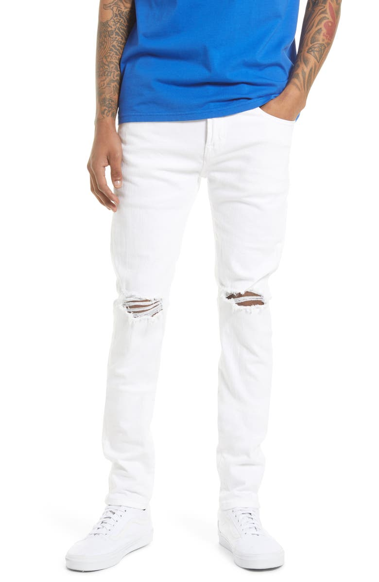 CULT OF INDIVIDUALITY Punk Men's Super Skinny Jeans, Main, color, WHITE