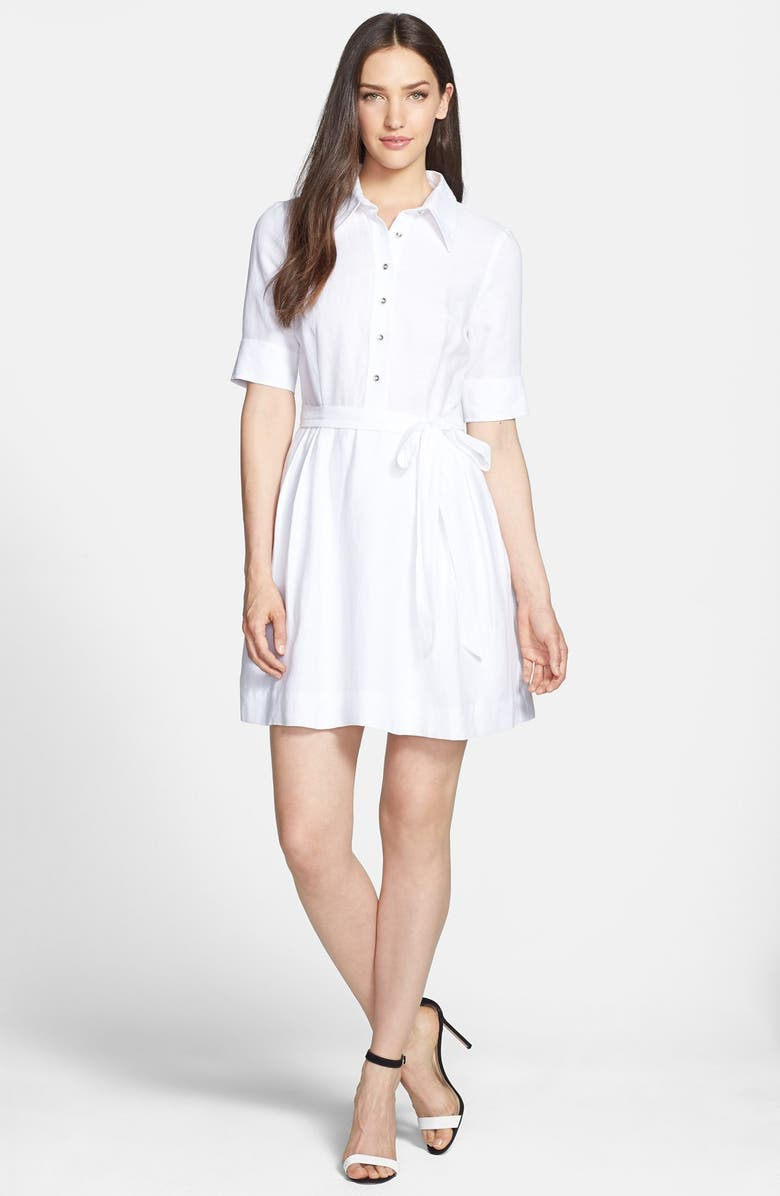 MILLY 'Cleo' Belted Woven Shirtdress, Main, color, WHITE