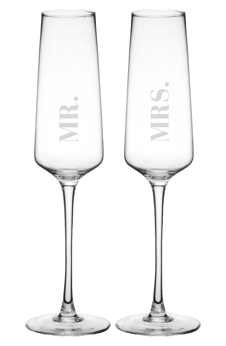 CATHY'S CONCEPTS Mr. & Mrs. Set of 2 Champagne Flutes, Main, color, 100