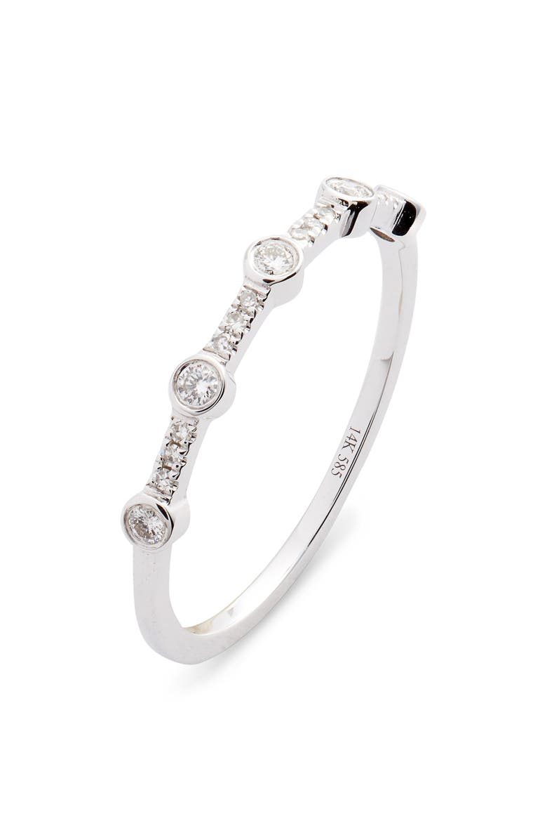 EF COLLECTION 5-Bezel Diamond Stack Ring, Main, color, WHITE GOLD/ DIAMOND