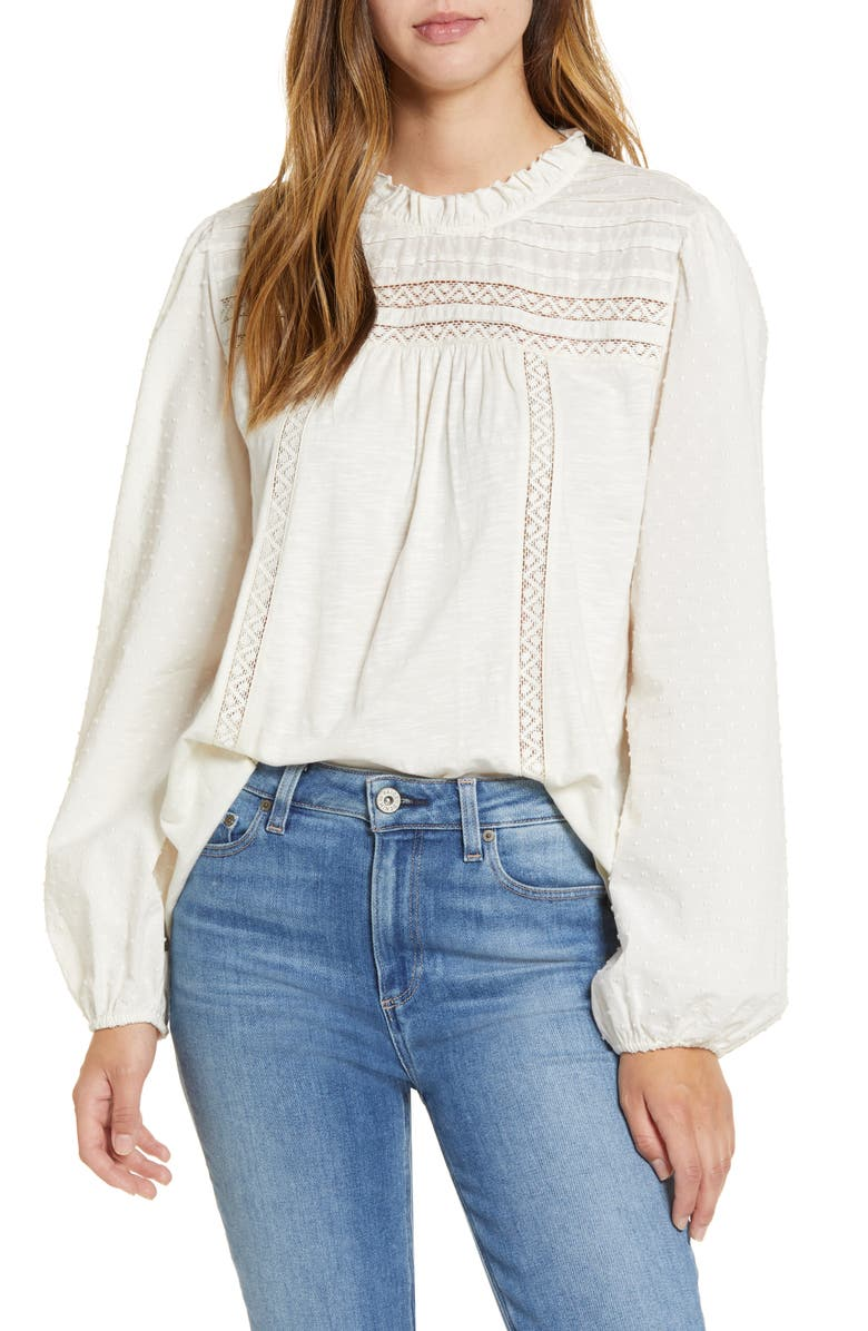 CASLON<SUP>®</SUP> Pintuck Lace Detail Long Sleeve Cotton Blouse, Main, color, IVORY PRISTINE