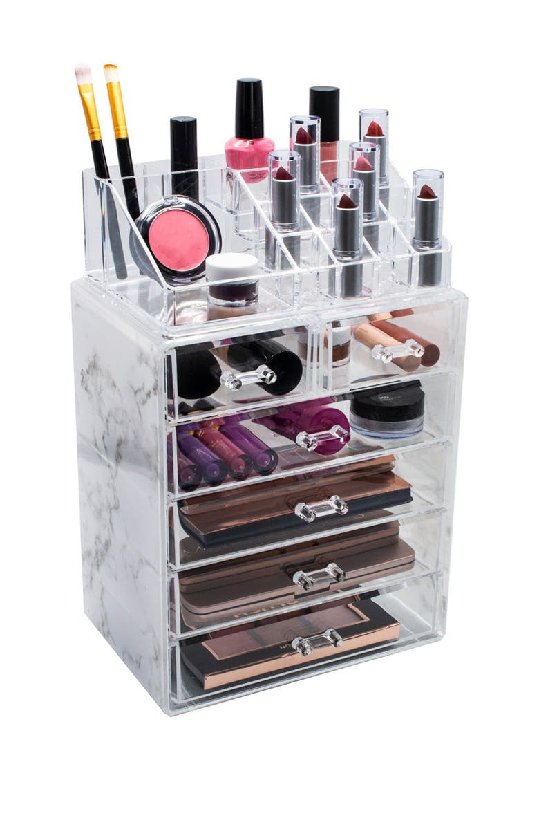 SORBUS Cosmetic & Makeup Storage Case Set - Gray Marble, Main, color, GRAY MARBLE