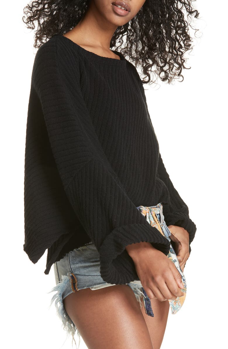 FREE PEOPLE I Can't Wait Crop Sweater, Main, color, Black