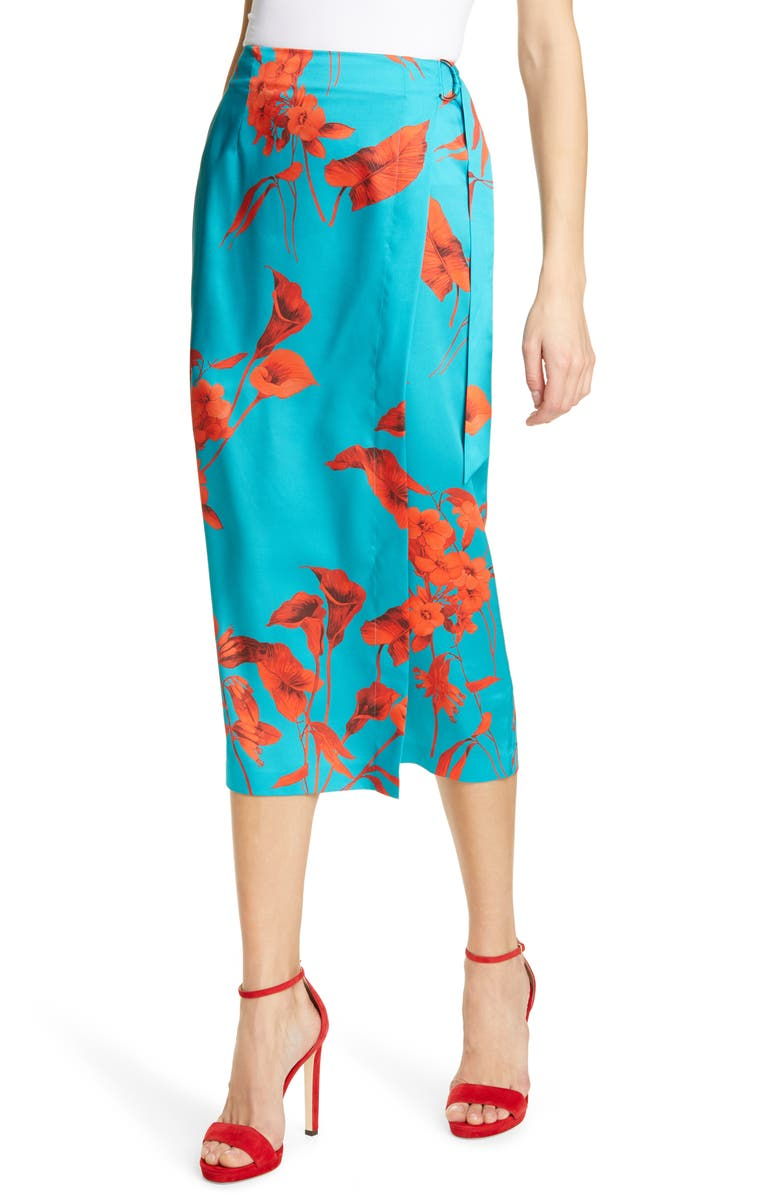 TED BAKER LONDON Lilyy Fantasia Split Hem Midi Skirt, Main, color, 400