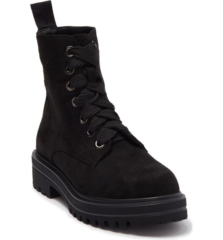 CATHERINE CATHERINE MALANDRINO Champy Faux Suede Lace-Up Combat Boot, Main, color, BLK ULTRA SUEDE