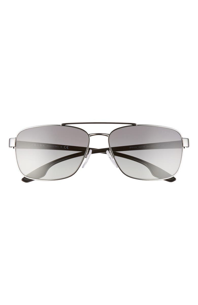 PRADA Pillow 62mm Oversize Navigator Sunglasses, Main, color, 040