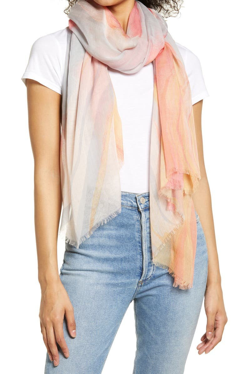 NORDSTROM Print Modal & Silk Scarf, Main, color, PINK MIA MARBLE