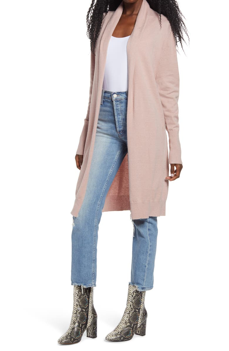 LEITH Cozy Long Cardigan, Main, color, PINK ADOBE