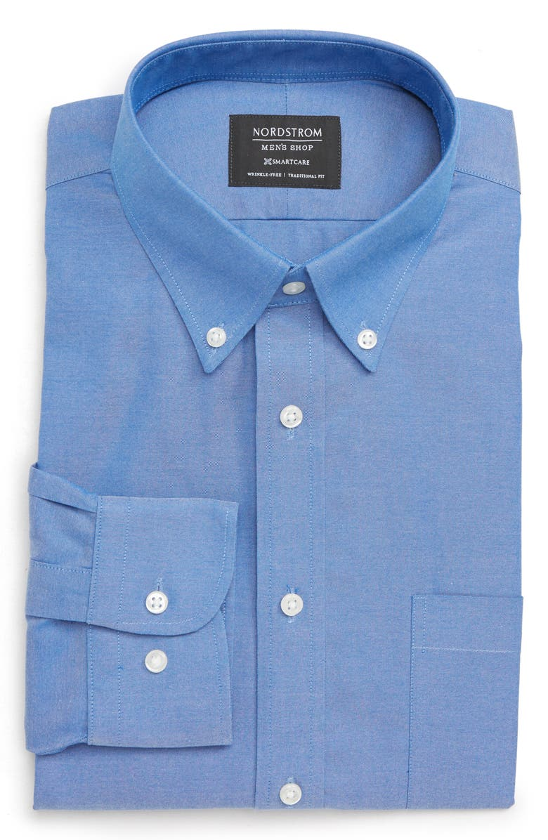 NORDSTROM Men's Shop Smartcare<sup>™</sup> Traditional Fit Pinpoint Dress Shirt, Main, color, BLUE