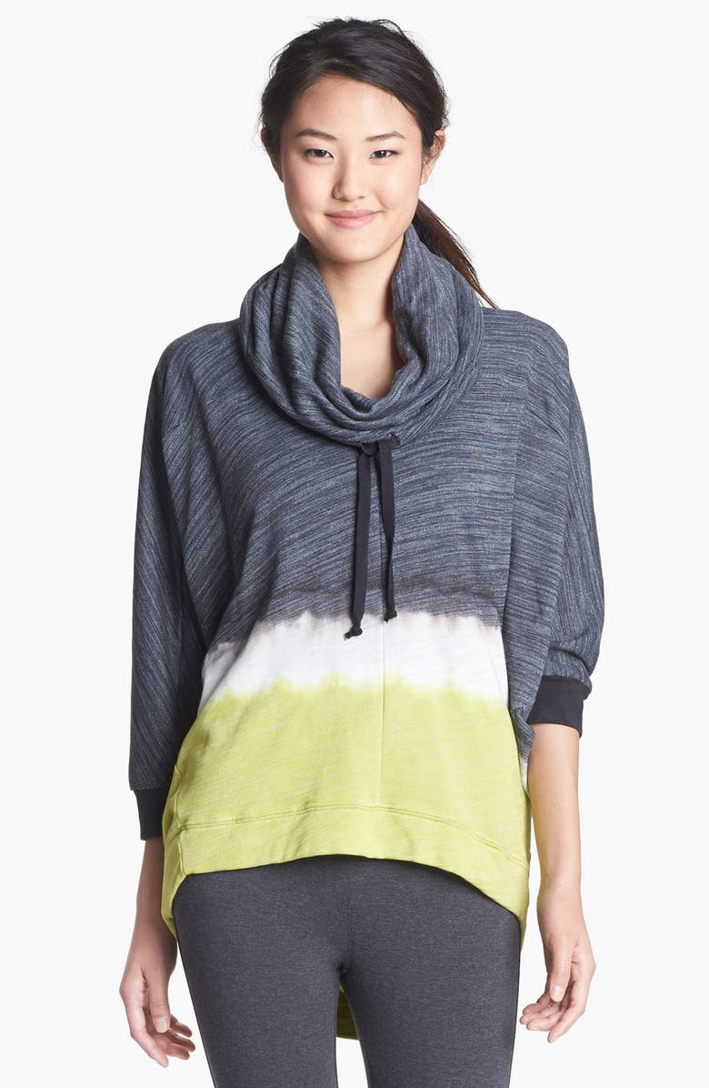 PINK LOTUS Dip Dye Cowl Neck Top, Main, color, CHARCOAL/ LIME