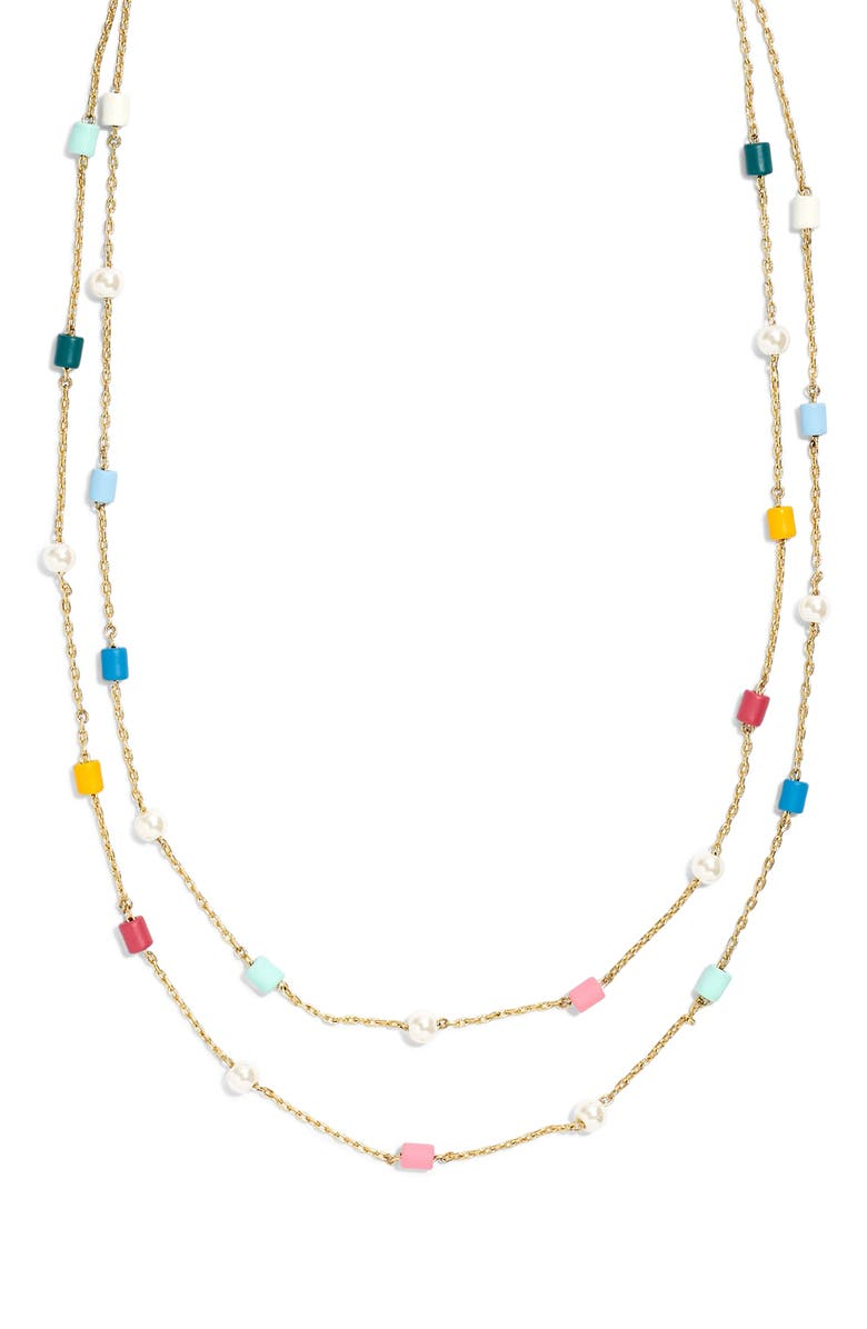 MADEWELL Beaded Imitation Pearl Layered Necklace, Main, color, 710