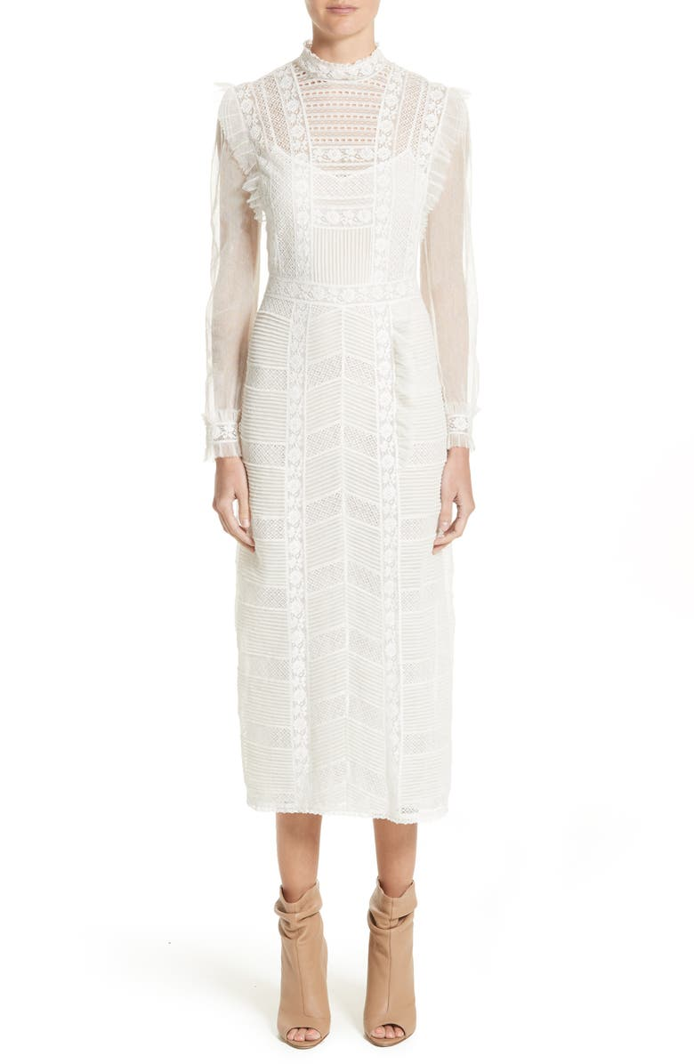 BURBERRY Chanella Lace Midi Dress, Main, color, 100