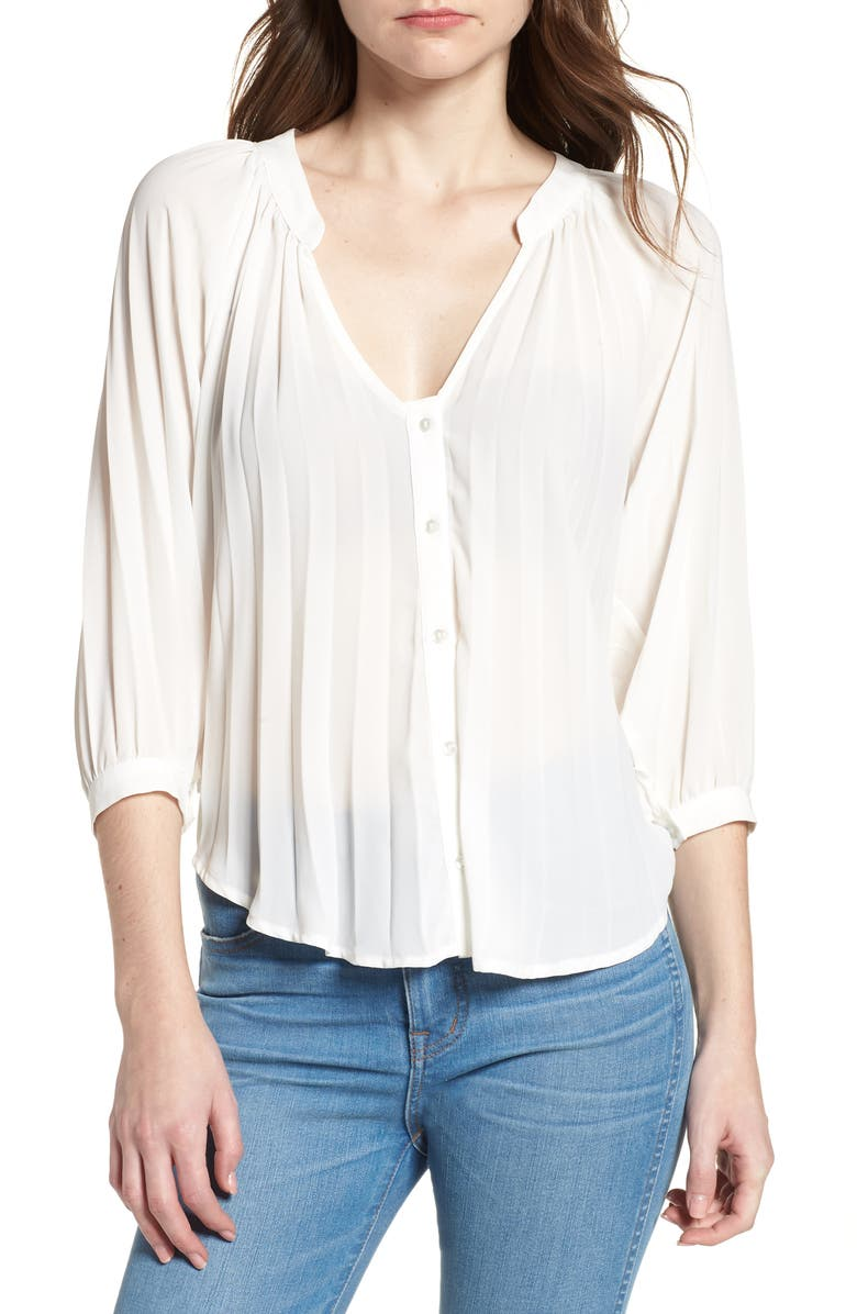BISHOP + YOUNG Pleated Top, Main, color, 100