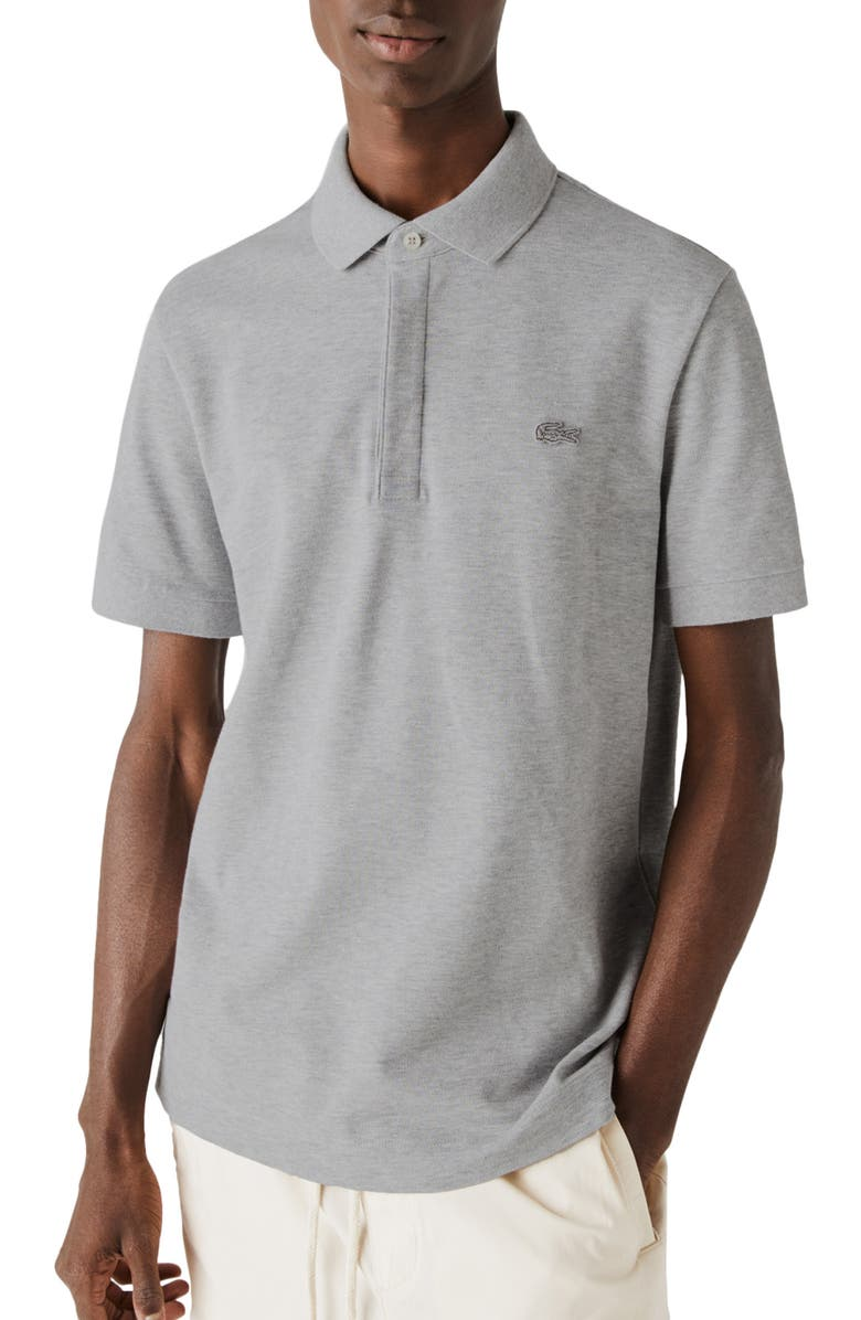 LACOSTE Paris Regular Fit Stretch Polo, Main, color, HEATHER WALL CHINE
