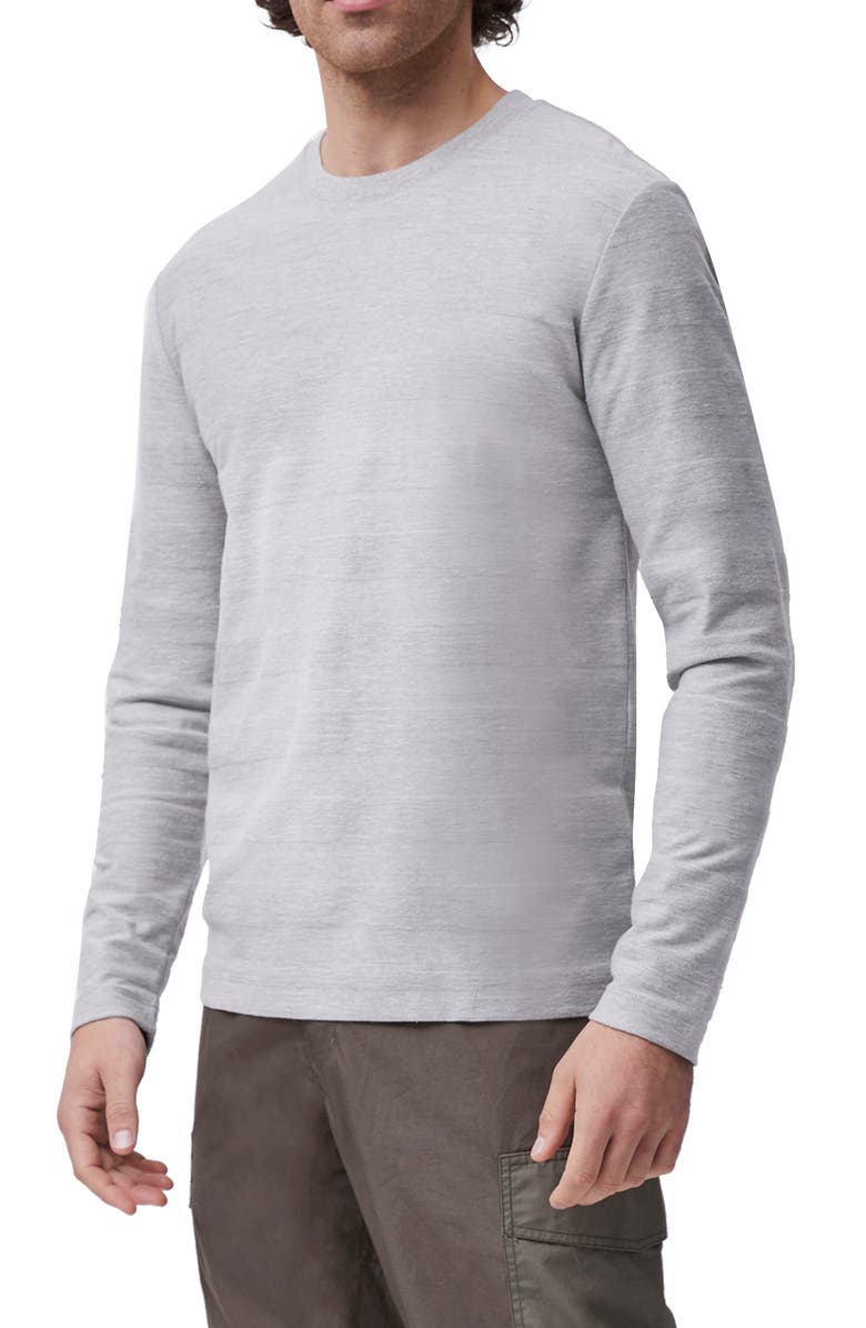 FRENCH CONNECTION Textured Stripe Long Sleeve T-Shirt, Main, color, LIGHT GREY MELANGE