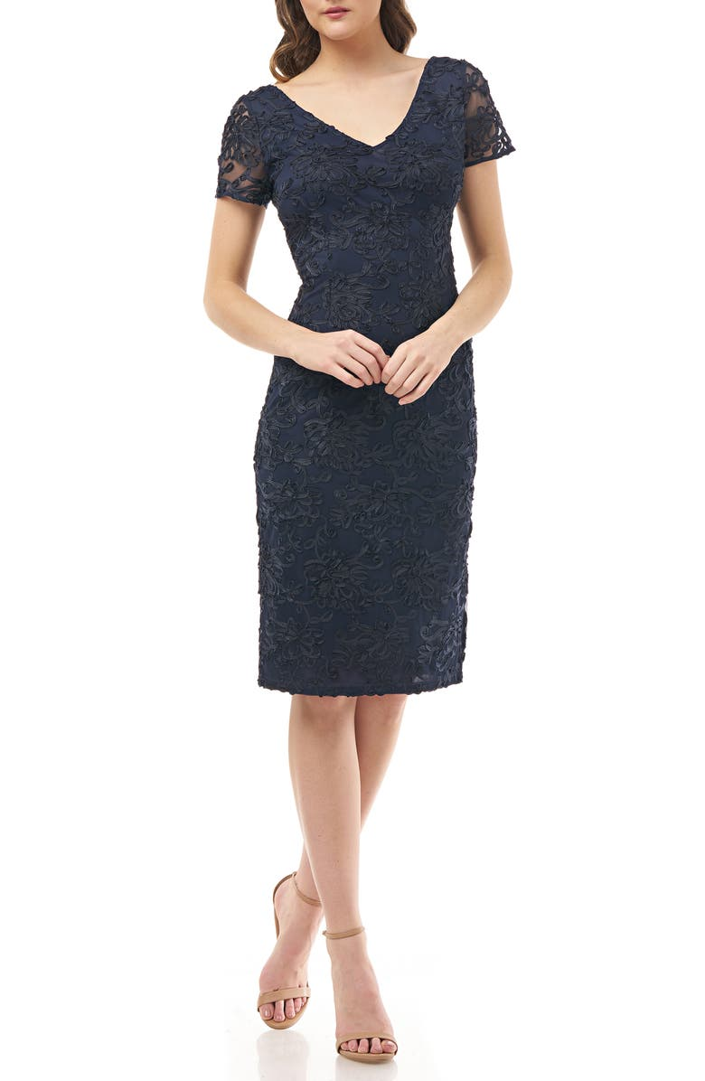 JS COLLECTIONS Soutache Embroidered V-Neck Cocktail Dress, Main, color, 410