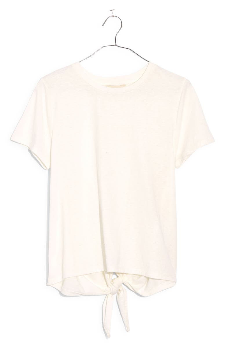 MADEWELL Knot Back T-Shirt, Main, color, EYELET WHITE