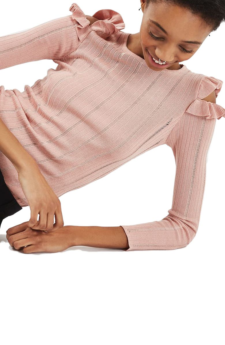 TOPSHOP Ruffle Cold Shoulder Sweater, Main, color, NUDE
