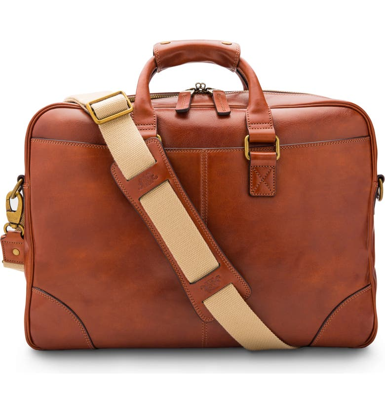 BOSCA Leather Double Gusset Briefcase, Main, color, AMBER