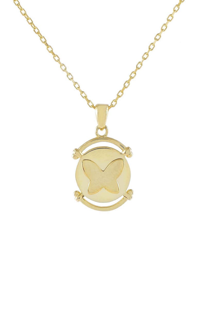 ADINA'S JEWELS Butterfly Coin Pendant Necklace, Main, color, GOLD