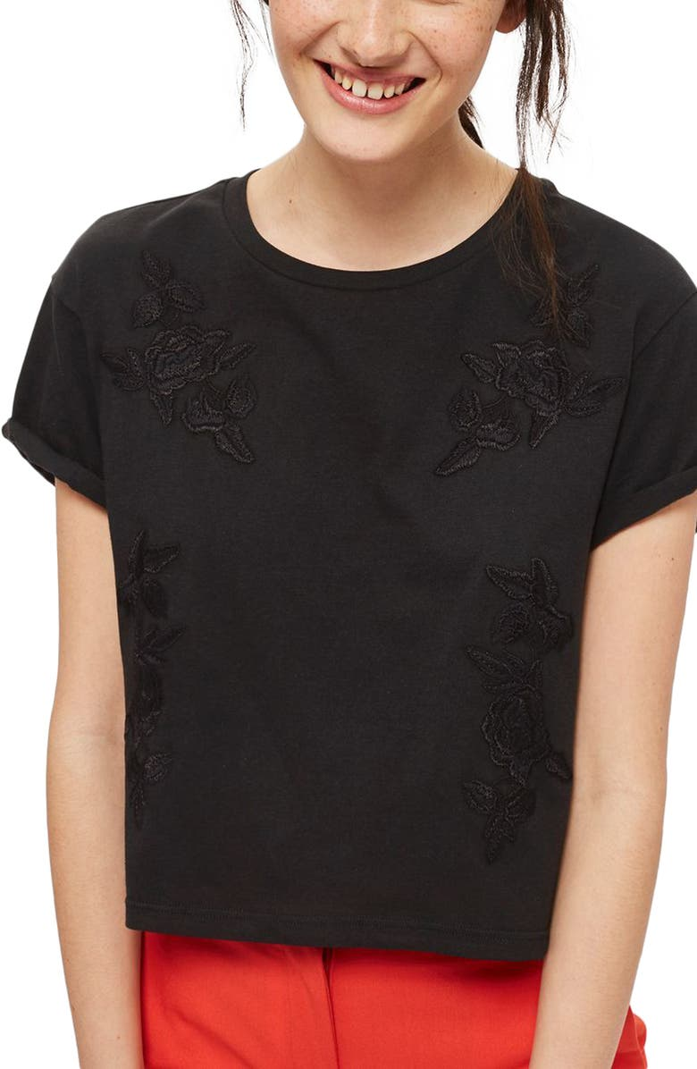 TOPSHOP Embroidered Crop Tee, Main, color, BLACK