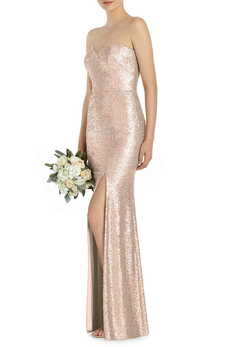 DESSY COLLECTION Elle Strapless Sequin Trumpet Gown, Main, color, 660
