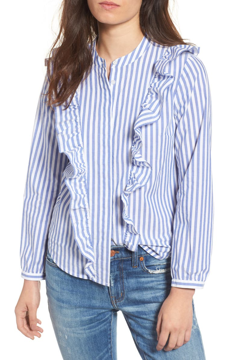 MADEWELL Whitney Stripe Ruffle Blouse, Main, color, SPECTRA BLUE