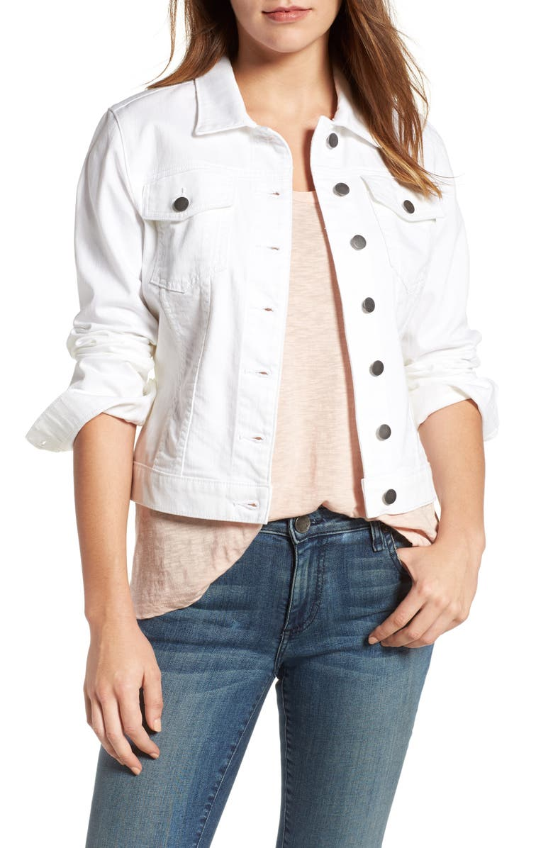 KUT FROM THE KLOTH 'Helena' Denim Jacket, Main, color, OPTIC WHITE
