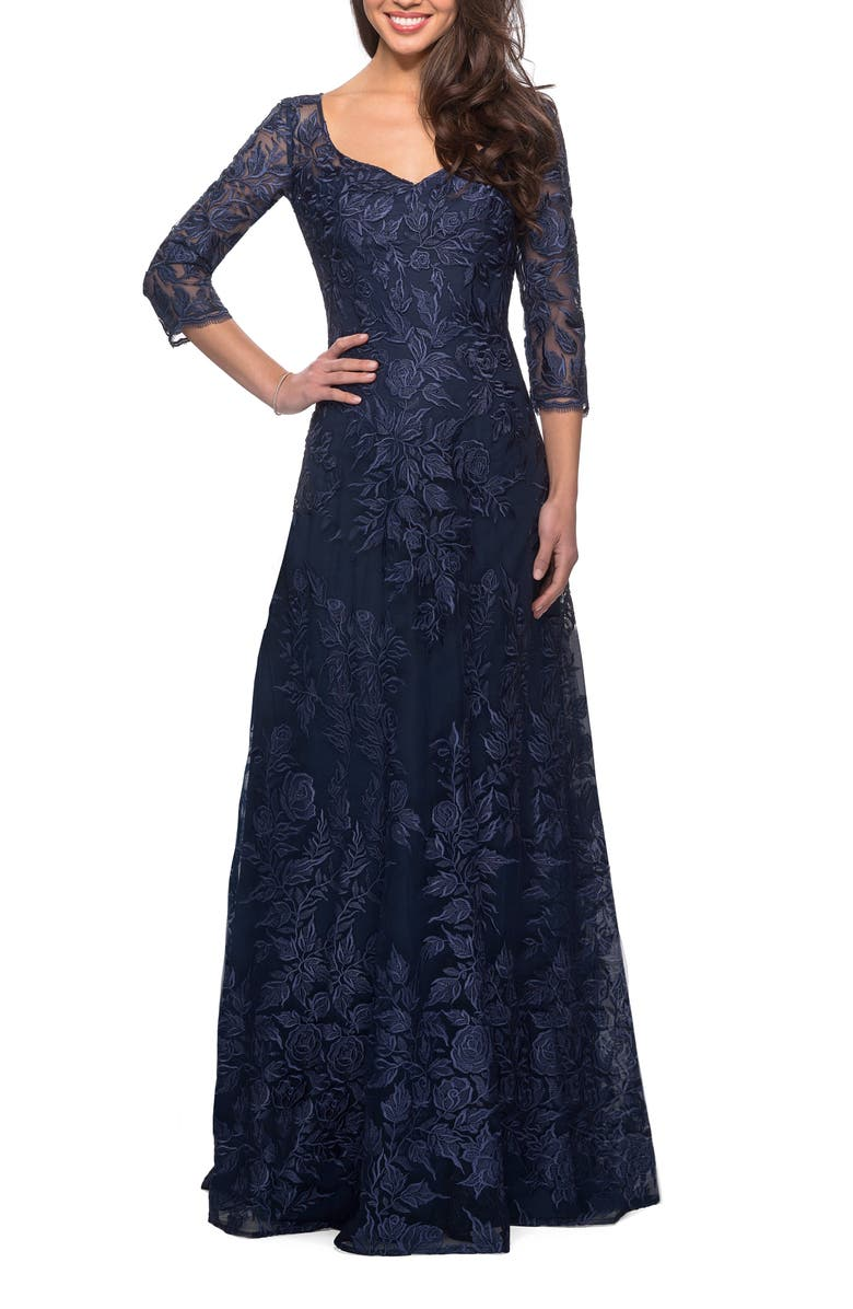 LA FEMME Floral Embroidered Mesh A-Line Gown, Main, color, NAVY