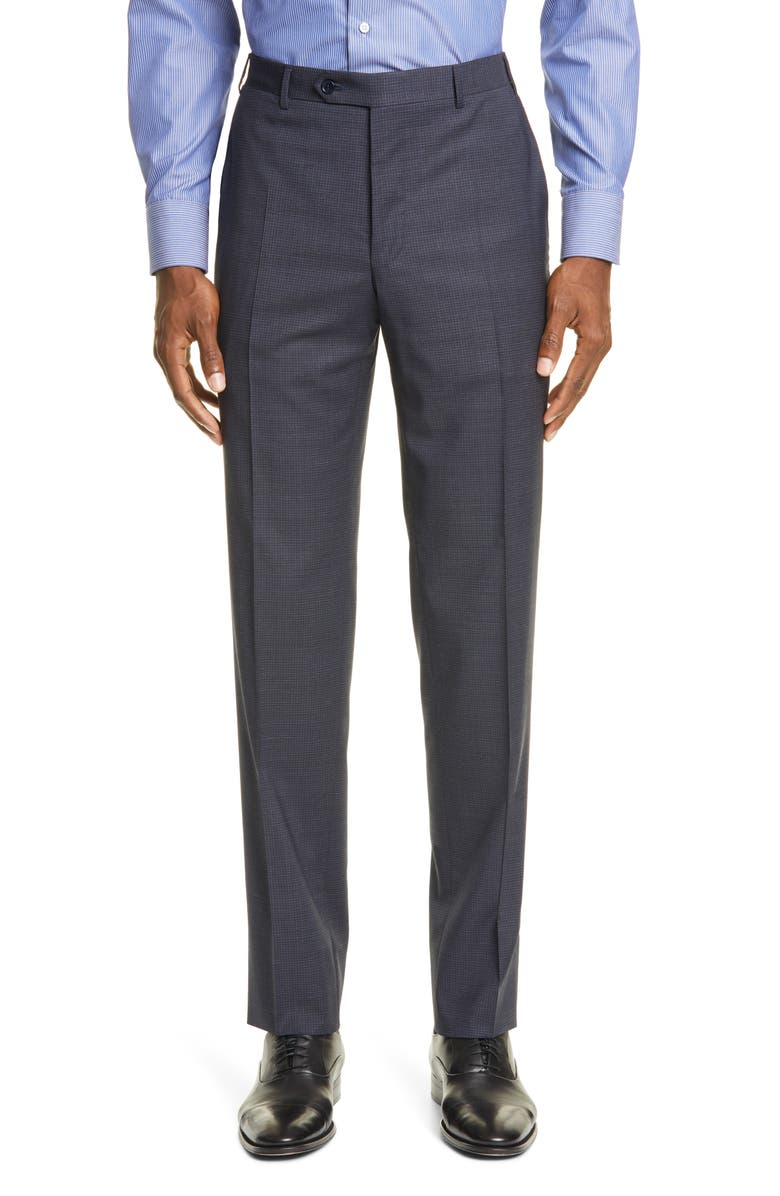 CANALI Flat Front Stretch Check Wool Dress Pants, Main, color, 410