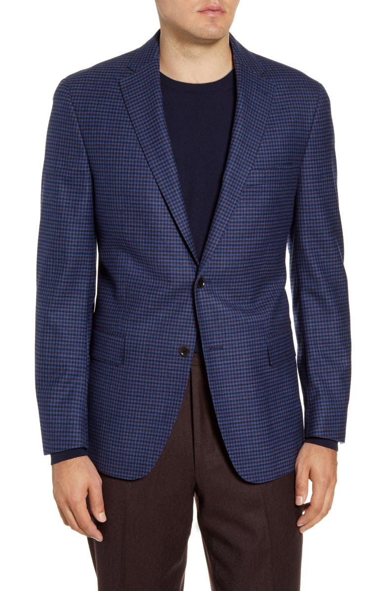 HART SCHAFFNER MARX Classic Fit Check Stretch Wool Sport Coat, Main, color, 409