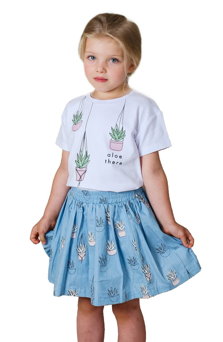 TINY TRIBE Kids' Aloe There Graphic Tee & Skirt Set, Main, color, MULTI