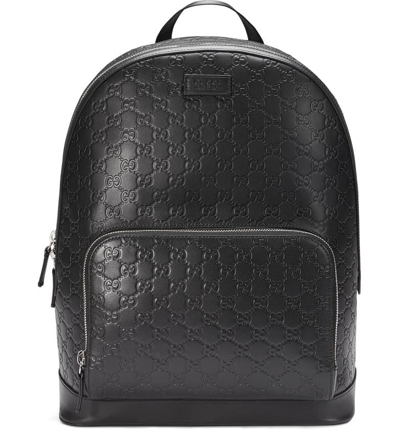 GUCCI Embossed Leather Backpack, Main, color, 001